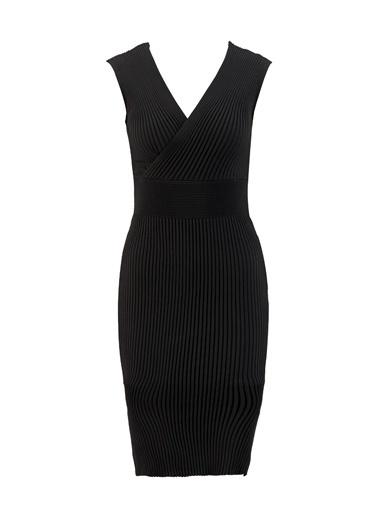 Setre Lila V Yaka Triko Elbise Siyah